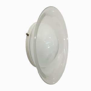 Italian Circular White Glass Sconce, 1970s