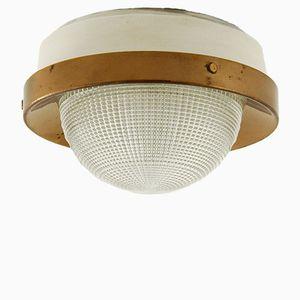 Italienische Runde Wandlampe aus Messing und Glas von Stilnovo, 1950er