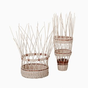 Voodoo Wicker and Copper Baskets by 4P1B Design Studio for Edizione Limitata, Set of 2