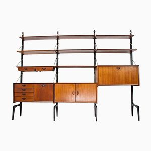 Teak Wall Unit by Louis van Teeffelen for WéBé, 1950s