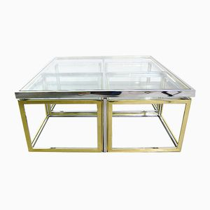 Vintage Coffee Table with Four Nesting Tables from Maison Charles