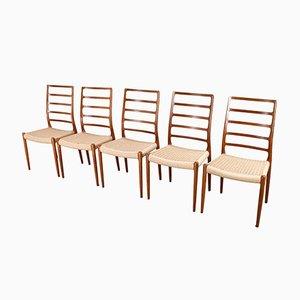 Chaises de Salon à Haut Dossier Modèle 82 par N.O. Møller pour J.L. Møllers, 1954, Set de 5