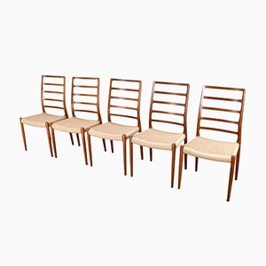 Model 82 High Back Dining Chairs by N.O. Møller for J.L. Møllers, 1954, Set of 5