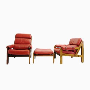 Two Red Leather Armchairs with Stool, 1960s