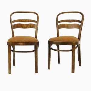 Vintage Walnuss Furnier Stühle im Art Deco Stil, 2er Set