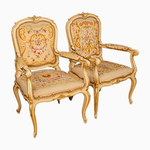 Italian Lacquered and Gilt Armchairs, 1950s, Set of 2