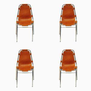 Leder Les Arcs Stühle von Charlotte Perriand für Cassina, 1970er, 4er Set