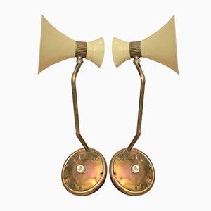 Wandlampen mit Zwei Konischen Schirmen von Stilnovo, 1950er, 2er Set