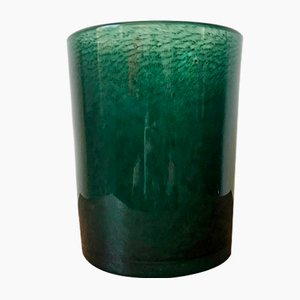 Large Forest Green Bubble Glass Vase from Ekenäs Glasbruk, 1960s
