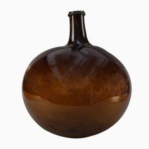 Antike Mundgeblasene Bernsteinfarbene Weinflasche
