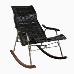 Rocking Chair en Similicuir Noir par Takeshi Nii, 1950s