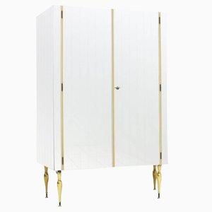 Mirrored Asymmetric Wardrobe with Brass Legs, 1960s