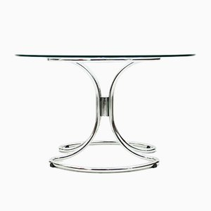Glass & Tubular Steel Dining Table by Giotto Stoppino, 1960s