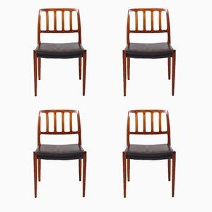 Model 83 Chairs by Niels O. Møller for J.L. Møllers, 1970s, Set of 4