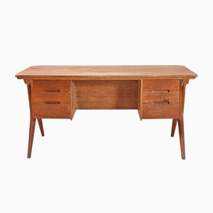 Vintage Six-Drawer Oak Desk, 1960s