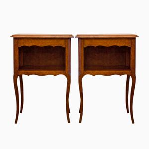 French Wooden Bedside Tables, Set of 2