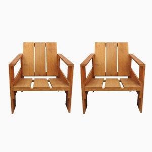 Holzkisten Vintage Armlehnstuhl von Gerrit Thomas Rietveld für Cassina, 2er Set