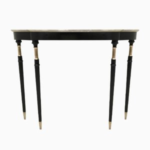 Console Table with White Carrara Marble Top, 1950s