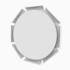 White Lacquered Wood Wall Mirror, 1970s