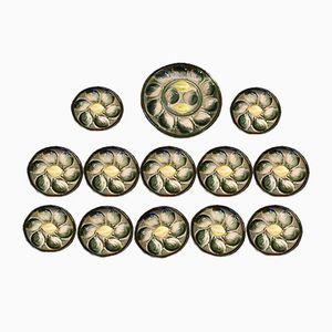 Piatti in maiolica con ostriche, anni '60, set di 13