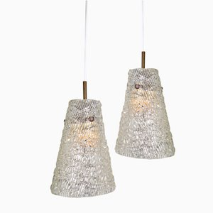 Swedish Cone Shaped Textured Glass Pendants from Orrefors, 1960s, Set of 2