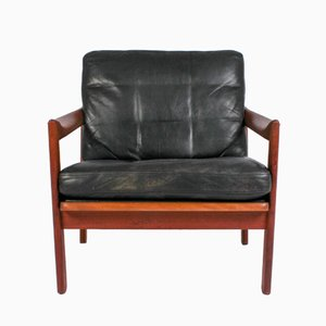 Teak & Leather Lounge Chair by Illum Wikkelsø for Niels Eilersen, 1960s