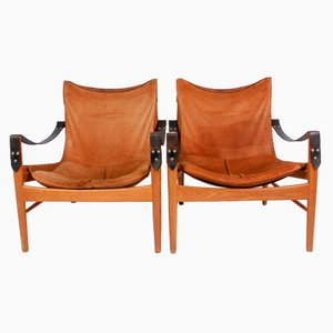 Antilop Suede & Oak Lounge Chairs by Hans Olsen for Viskadalens Möbler, 1960s, Set of 2