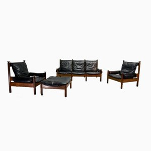 Mid-Century Scandinavian Black Leather Sofa Set, 1960s