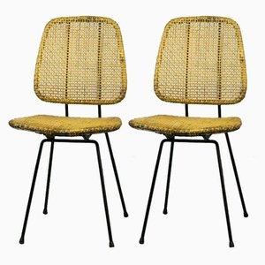 Stühle aus Rohrgeflecht von Dirk Van Sliedregt für Rohé Noordwolde, 1950er, 2er Set