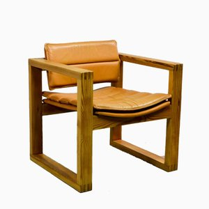 Vintage Cubic Pinewood & Leather Armchair, 1970s