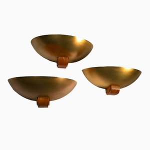 Art Deco Golden Brass & Wood Sconces, 1930s, Set of 3