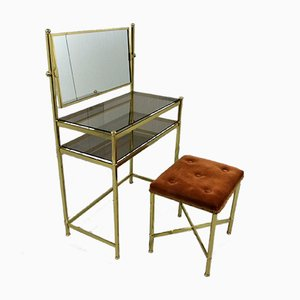 Vintage Dressing Table in Brass & Glass, 1960s