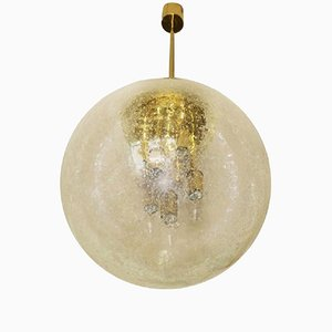 Large Frosted Glass and Brass Globe Pendant from Doria, 1960s