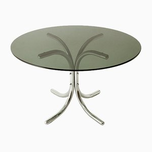 Italian Chromed Dining Table with Round Glass Top, 1970s