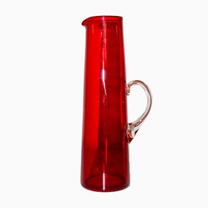 Brocca Mid-Century in vetro rosso di Monica Bratt per Reijmyre Glasbruk, Svezia