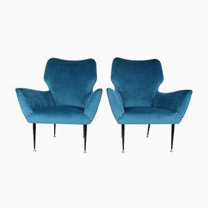 Geschwungene Italienische Sessel, 1950er, 2er Set