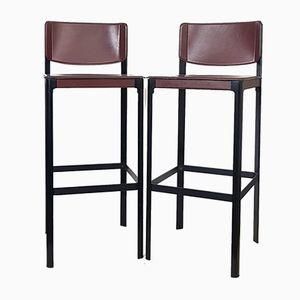 Leather Bar Stools from Matteo Grassi, 1970s, Set of 2