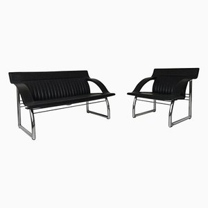 DS-127 Black Leather Sofa and Lounge Chair by Gerd Lange for de Sede, 1980s