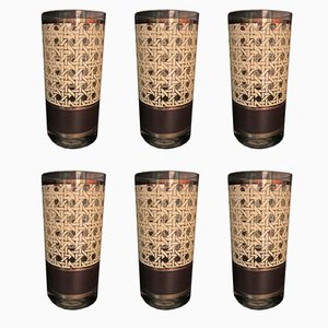 Vintage American Straw Vienna Glasses by Georges Briards, 1960s, Set of 6