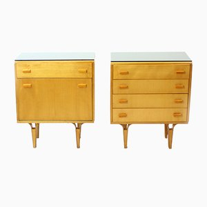 Czechoslovakian Night Stands in Veneer with Black Opaxite Glass Tops from Novy Domov, 1960s, Set of 2