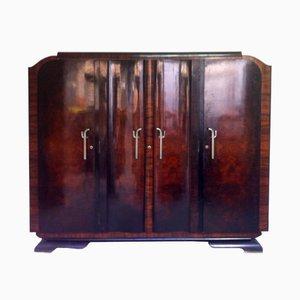 Spanischer Art Deco Walnuss Kleiderschrank mit Spiegel, 1940er