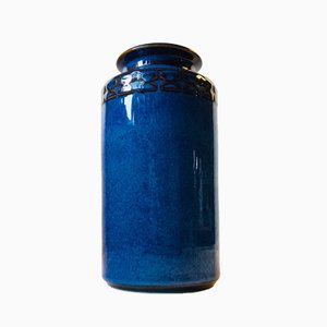 Blaue Dänische Töpferei Vase von Maria Phillipi für Søholm, 1984