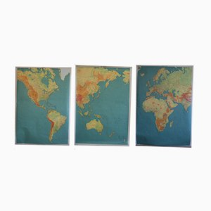 Vintage French 3-Part World Map
