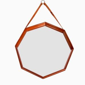 Mid-Century Swedish Octagonal Teak Mirror with Leather Strap
