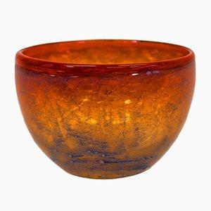 Orange Patterned Glass Bowl by Benny Motzfeldt, 1968