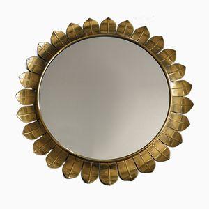 Specchio da parete Mid-Century moderno a forma di sole in ottone, Italia