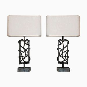 Brutalist Steel Table Lamps, 1970s, Set of 2