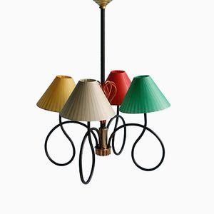 Bunte Französische Deckenlampe, 1950er