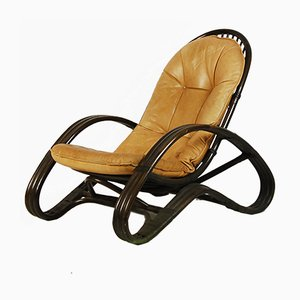 Lounge Chair in Rattan & Leather, 1970s