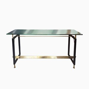 Brass and Black Iron Console, 1950s